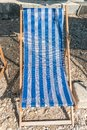 stock image of  One blue sunbed on a beach