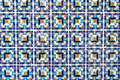 Blue, white and yellow tile background Royalty Free Stock Photo