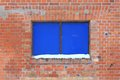 Blue window brick wall with a Royalty Free Stock Images
