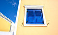 Blue window in greek style Royalty Free Stock Photo