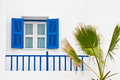 Blue window and terrace Stock Photos