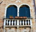 Blue windows in Venice, Italy Royalty Free Stock Photo