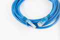 Blue Wired LAN Cable On White Royalty Free Stock Photo