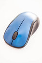 Blue wireless mouse isolated on white background Royalty Free Stock Image