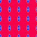 Blue Wizard warlock icon isolated seamless pattern on red background. Vector Royalty Free Stock Photo