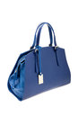 Blue womens bag  on white background. Royalty Free Stock Photo
