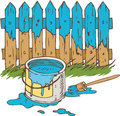 Blue Wooden Fence with Paintbrush and Tin can of Paint Royalty Free Stock Photo