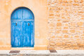 Blue wooden front door Royalty Free Stock Photo