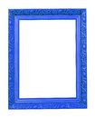 Blue wooden photo frame isolated on white Royalty Free Stock Photography
