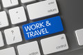 Blue Work and Travel Key on Keyboard. 3d.