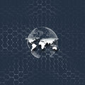 Blue world globe, connecting lines and dots on colorful background. Chemistry pattern, hexagonal molecule structure Royalty Free Stock Photo