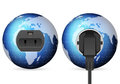 Blue world globe outlet socket with and plug on white background Stock Images
