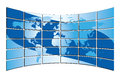 Blue world map on the blue screens vector Stock Photo