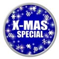 Blue X-mas special button Royalty Free Stock Photo