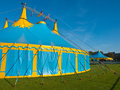 Blue and yellow big top circus tent Royalty Free Stock Photo