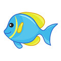 Blue and yellow cute fish isolated illustration on white background Stock Images