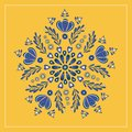 Blue and yellow floral folk design, ideal for for fabric, embroidery, or card. Vector illustration