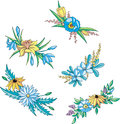 Blue and yellow flowers for ornaments Stock Images