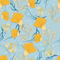 Blue and yellow flowers in pattern Stock Photography