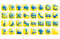 Blue and yellow glossy vector web buttons Stock Photography