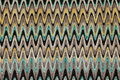 Blue, yellow and grey waves horizontal lines pattern fabric Royalty Free Stock Photo