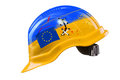 Blue and yellow hard hat with cracks scratches and eu flag kie symbolic interpertation kiev ukraine december ukraine police smash Stock Images