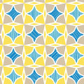 Blue and yellow marble textured tiles seamless vector pattern background with hand drawn elements Royalty Free Stock Photo