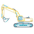 Blue yellow outline big digger builds roads on white. Digging of ground. Heavy machinery. Royalty Free Stock Photo