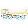 Blue yellow outline heavy truck on white Royalty Free Stock Photo