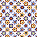Blue yellow and red geometric arabic square stars shapes seamless pattern on white, vector