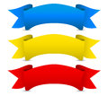 Blue yellow red vector ribbons scroll banners medieval concept modern colorful look Royalty Free Stock Photo
