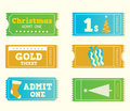 Blue and yellow retro cinema christmas tickets Royalty Free Stock Photo