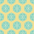 Blue and yellow retro flowers seamless pattern with beige on a background Royalty Free Stock Images