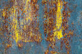 Blue yellow rust texture Royalty Free Stock Photo