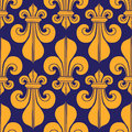 Blue & yellow seamless pattern heraldry royal lily. Royalty Free Stock Photo