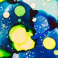 Blue and Yellow Splatters in Alcohol Ink