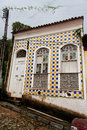 Blue and Yellow Tile Facade Sao Luis do Maranhao Stock Photos