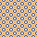 Blue yellow and white simple mosaic tiles seamless pattern, vector Royalty Free Stock Photo