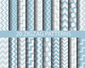 Blue zigzag patterns different vector textures for wallpaper fills web page background surface Stock Photo