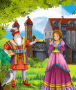 Bluebeard greybeard prince or princess castles knights and fairies illustration for the children happy colorful Royalty Free Stock Images