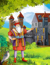 Bluebeard greybeard prince or princess castles knights and fairies illustration for the children happy colorful Royalty Free Stock Image