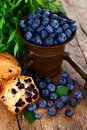 Blueberries in antique mortar Royalty Free Stock Photos