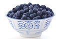 Blueberries in bowl freshly washed blue and white on white background Royalty Free Stock Images