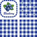 Blueberries & Gingham Seamless Patterns Royalty Free Stock Photos