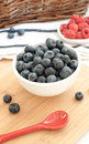 Blueberries and raspberries Stock Photos