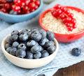 Blueberries red currants nad cereals in bowls healthy breakbast Royalty Free Stock Images