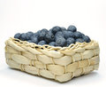 Blueberries in a straw basket Royalty Free Stock Photo