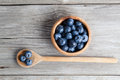 Blueberries on a wooden bowl, spoon Royalty Free Stock Photo