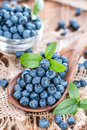 Blueberries on a Wooden Spoon Royalty Free Stock Photo