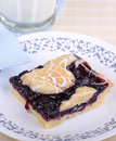 Blueberry bar slice of on a plate Stock Photos